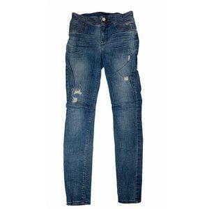 RtA Distressed Skinny Moto Style Denim Jeans